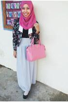 pink Zara bag - flowers blazer - square scarf - chiffon skirt - studded flats