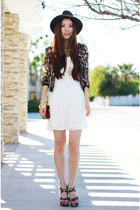 ivory lace Charlotte Russe dress - black floral print Local store blazer