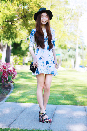 white floral PERSUNMALL dress - black floral wedge C Label shoes