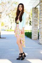 light pink floral Morphologie dress - black chunky UrbanOG heels