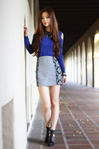 blue long sleeve Forever 21 top - aztec prints Morphologie skirt