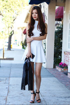 white simple Charlotte Russe dress - black ankle strap Charlotte Russe heels