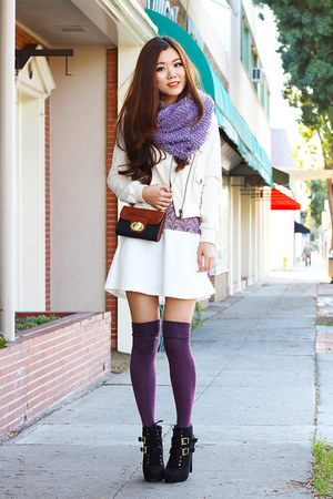 white winter Diesel jacket - light purple Urban Outfitters scarf