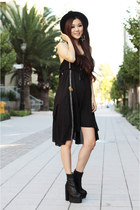 black leather Jeffrey Campbell boots - black bohemian free people dress