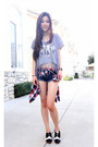 Ruby-red-guess-shirt-navy-hollister-shorts