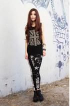 black prints leggings - black studded Forever21 top