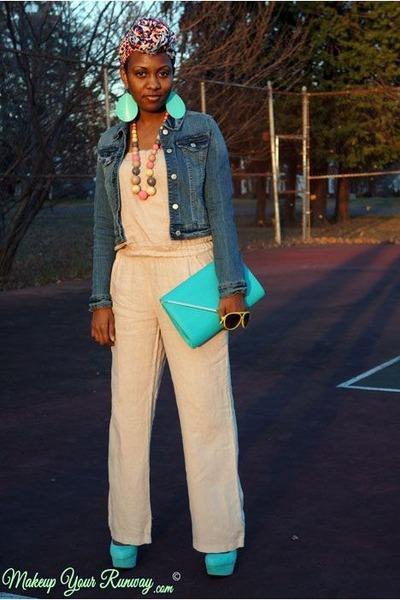 blue denim jacket - light pink leopard H&M scarf - aquamarine clutch Aldo bag