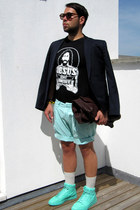 H&M blazer - gianfranco ferre bag - H&M shorts - nike sneakers