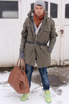 vintage jacket - nike shoes - Topman bag accessories - Zara jeans - vintage scar