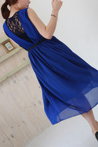 Electric blue chiffon maxi dress with lace panel