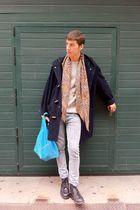 blue vintage coat - gray Jack Emerson sweater - blue Topman jeans - brown vintag