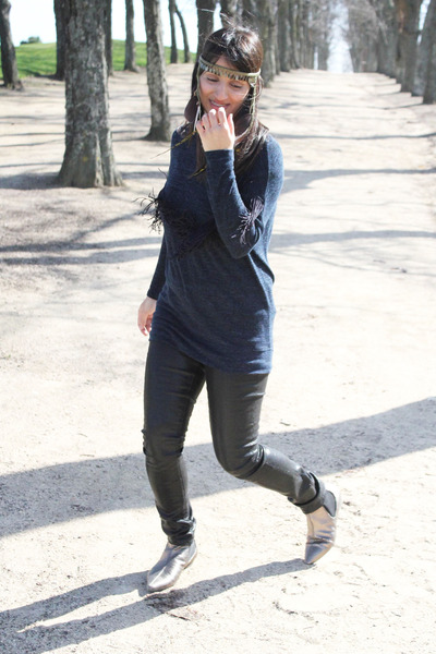 Giuseppe Zanotti boots - asos jeans - Zara sweater - Topshop accessories