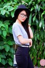 Black-high-waisted-h-m-jeans-silver-abby-jocson-bag-clear-icing-sunglasses