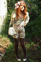 purse - banana republic shorts - scarf - Sfera tights