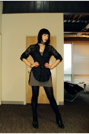 BB Dakota blouse - aa dress - Nine West boots - vintage necklace