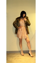 beige H&M dress - brown Aqua jacket - beige jeffrey campbell for free people sho