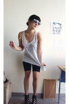white top - black shorts - black sunglasses - black shoes