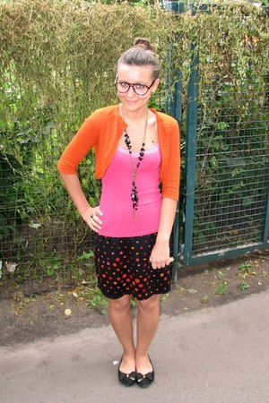 black necklace - black skirt - carrot orange Zara cardigan