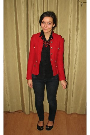 red thirfted jacket - black thrifted H&M blouse - red necklace