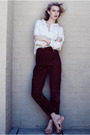 Red-vintage-pants-vintage-shirt-funkis-shoes