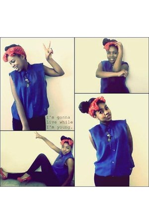 black RT leggings - blue chiffon ltd shirt - red silk polka dot nsync scarf