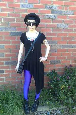 black thrifted boots - black Sportsgirl shirt - amethyst thrifted vintage tights