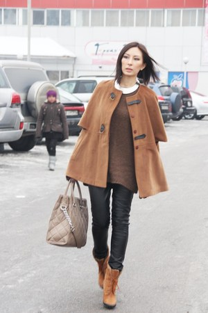 Michael Kors bag - Braska boots - Zara sweater - New Yorker pants - romwe cape