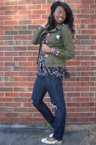 green Hot Topic jacket - black alloy top - blue alloy jeans - white Old Navy sho