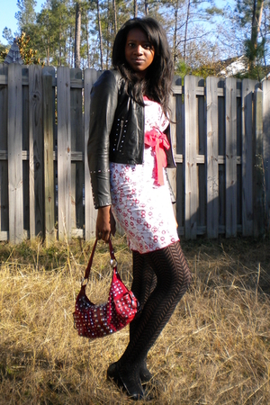 white Hot Topic dress - black Wilsons leather jacket - black kohls tights - red