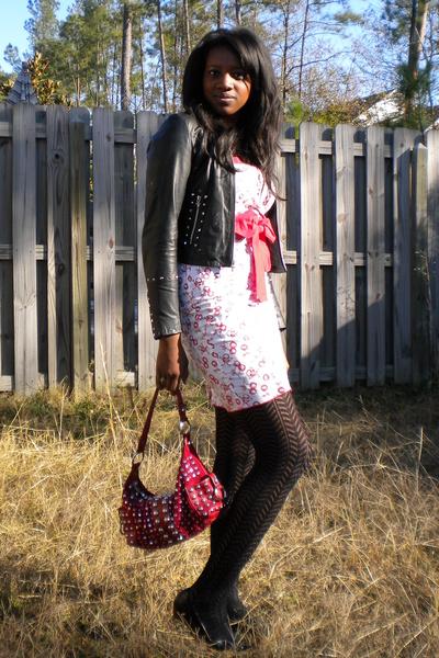 white Hot Topic dress - black Wilsons leather jacket - black kohls tights - red