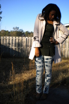 beige Charlotte Russe coat - green top - white Levis Red Tab jeans - brown payle