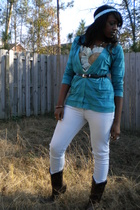 gold handmade intimate - blue Walmart cardigan - blue Wet Seal jeans - brown boo
