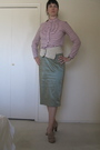 Beige-daniblack-shoes-green-st-emile-skirt-pink-tommy-hilfiger-blouse-beig