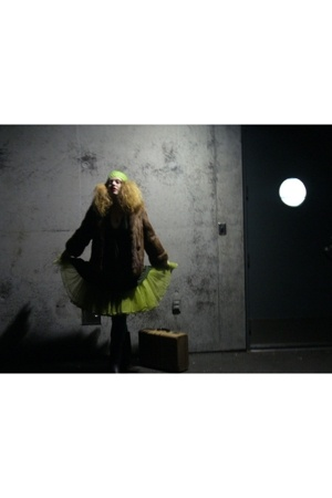 green skirt - brown vintage fur coat - green swimwear