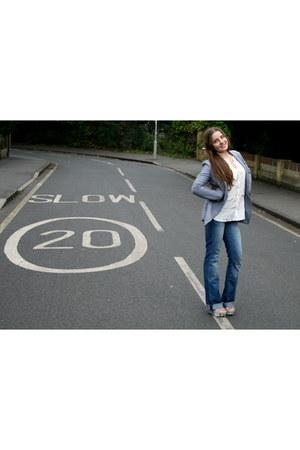 navy 7 for all mankind jeans - light blue Zara blazer - ivory Zara blouse