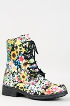 Qupid MISSILE-04 Floral Laced Midcalf Boot