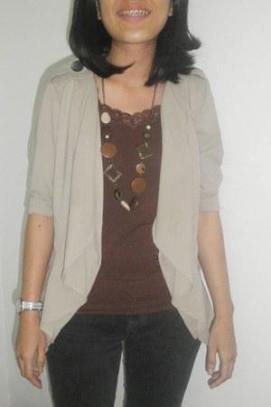 necklace - cardigan - top