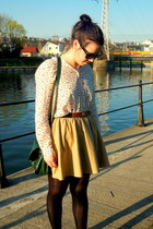 forest green NewYorker bag - off white printed Zara shirt - camel Zara skirt