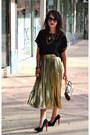Black-forever-21-blouse-dark-khaki-thrifted-vintage-skirt