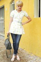 pink RR shoes shoes - blue Zara jeans - green Pallas bag - green vintage belt