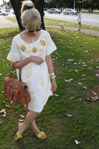 white E-zone dress - yellow Arezzo shoes - brown