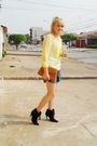 Yellow-laysa-rosa-blouse-blue-boyfriend-shorts-brown-vintage-bag-black-vin