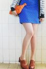 Blue-rosa-ch-dress-silver-zara-cardigan-brown-clogs-berimbau-shoes-orange-