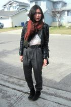 black zipia jacket - gray Zara pants - white American Apparel t-shirt - black Al