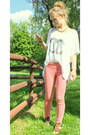 White-handmade-shirt-gold-vintage-bag-salmon-skinny-bershka-pants