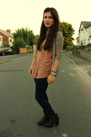 brown leopard print thrifted cardigan - black asos boots