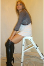 Gray-vintage-white-zara-dress-black-zara-boots