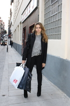 black Zara coat - silver Zara belt - silver Zara t-shirt - black Zara purse - bl