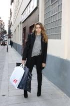 black Zara coat - silver Zara belt - silver Zara t-shirt - black Zara purse - bl