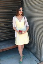 white RockStar sunglasses - light yellow elevenses dress - brown Cole Haan bag